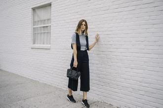 take aim blogger culottes grey t-shirt celine bag