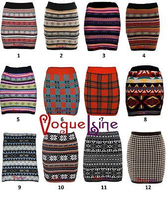 Knitted Nordic Fair Isle Aztec Tartan Snowflake Bodycon Skirt | eBay