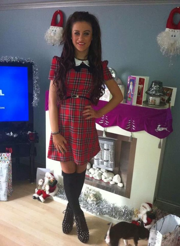 dress tartan red black white bow
