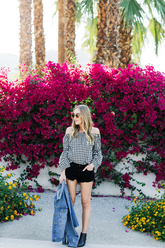 eat sleep wear blogger top shorts shoes jacket ankle boots gingham black shorts summer outfits