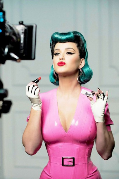 Dress Pink Pink Dress Plunge V Neck Katy Perry Latex Editorial