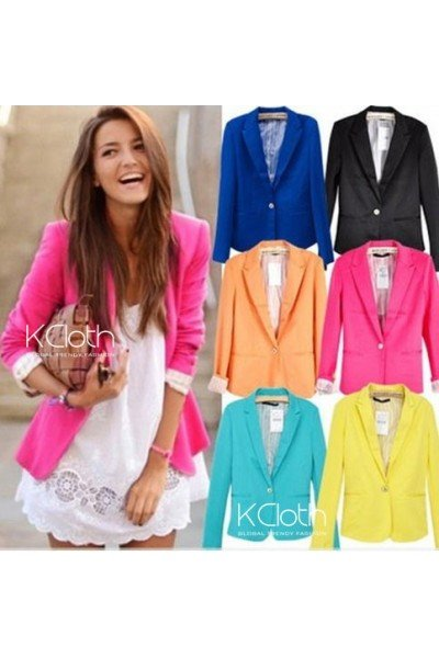 KCLOTH Basic Slim Foldable Lapel Suit Jacket Blazer O1358