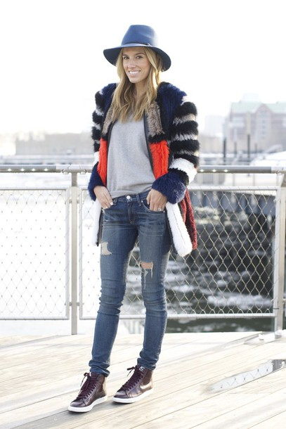 mind body swag blogger high top sneakers fedora fur coat ripped jeans coat sweater jeans shoes hat