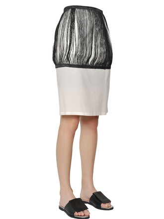 skirt pencil skirt cotton silk white black