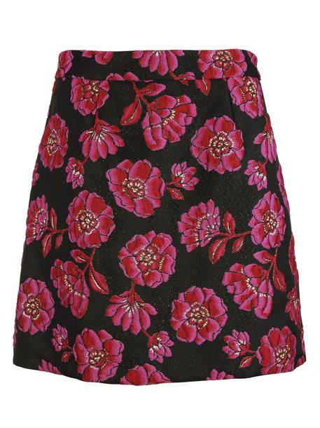 skirt jacquard floral black pink