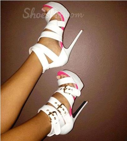 Elegant White Coppy Leather Amazing Ankle Strap High Heel Sandals