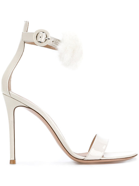 Gianvito Rossi women fluffy sandals leather nude shoes