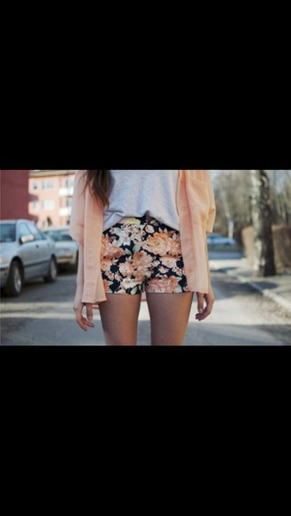 shorts floral sweater flowers pink flowered shorts black knitted cardigan soft sweater