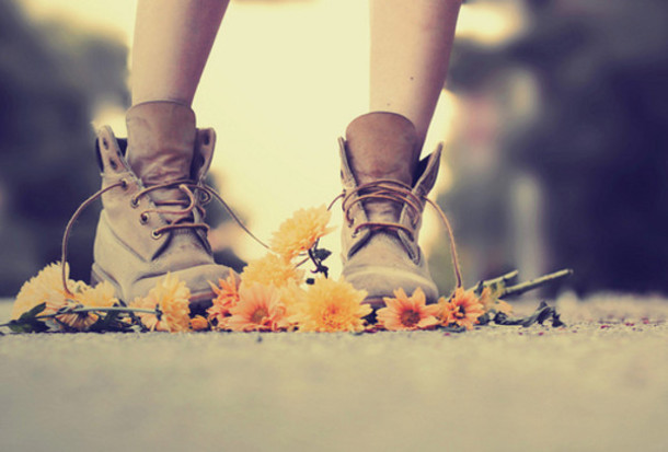 Shoes: tan, brown, girl, leaves, flowers, brown shoes, lace up ...