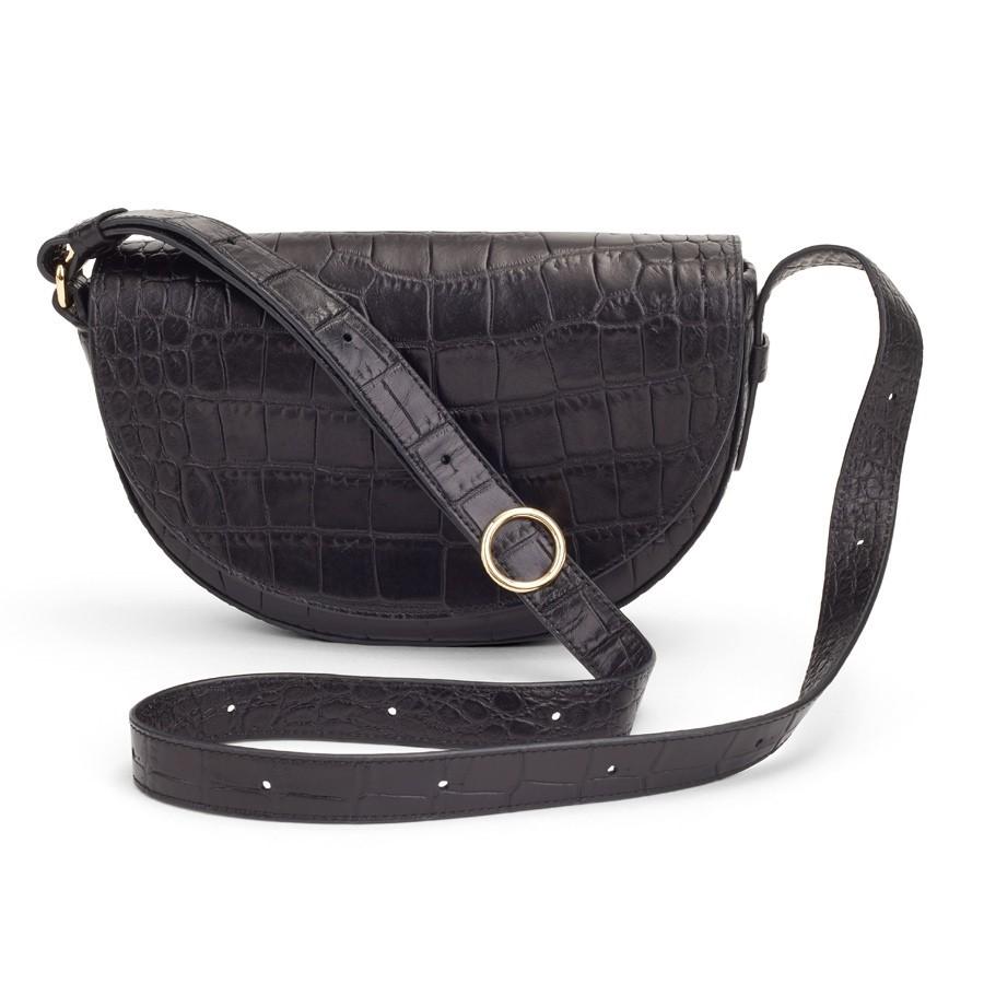 Croc-Embossed Half-Moon Mini Bag