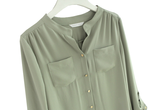 Light Green Long Sleeve Pockets Chiffon Blouse - Sheinside.com