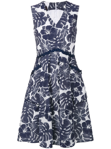 Talbot Runhof dress women floral cotton blue