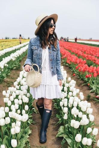 crystalin marie blogger dress jacket shoes bag hat tumblr mini dress white dress denim jacket denim sun hat spring outfits spring dress round bag