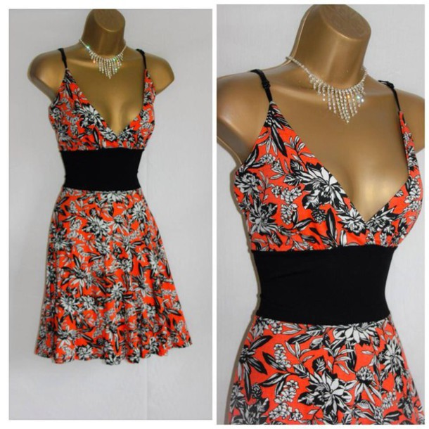 2dc71fc2aa0a floral dress floral fashion dress low cut dress black black belt flowy dress  summer dress gorgeous