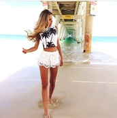shirt,beach,palm tree print,crop tops,tank crop top,cropped tank,palm tree,summer,shorts,blouse,tank top,tanned girl,gorgeous,summer outfits,skirt,blonde hair,pants,white shorts,lace shorts,t-shirt,crop,cropped,tenn,mini shorts,white tank top white black floral,sun,top,crochet shorts,white,black and white,nav,dress,it s prety,jeans,style,summer dress,white dress,white jeans,palm tree top,beachwear,crop tank,cool nice shorts and shirt,hair accessory,hairstyles,white top,white t-shirt,black crop top,summer top,short,cute,white crop tops