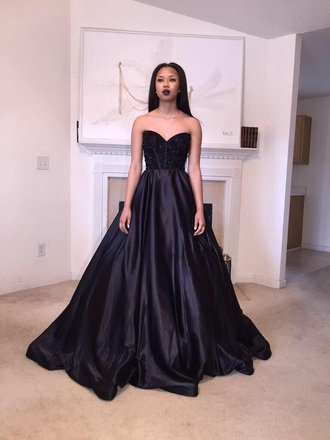 dress prom dress black dress gown prom gown goth gothic gown black tumblr prom flawless long prom dress jewels black prom dress strapless dress