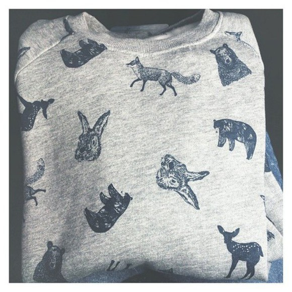 loose fit sweater grey sweater animals print