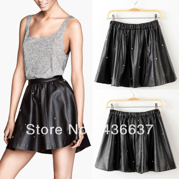 Women Black Faux Leather Rivet Mini Skirt High Waist Flared Pleated Skater Short-in Skirts from Apparel & Accessories on Aliexpress.com