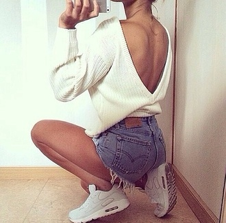 v-back knitted sweater loose fit sweater oversized sweater