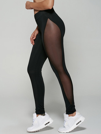 pants black fashion yoga pants style sporty sportswear mesh see through leggings sheer sides zaful black leggings mesh leggings workout leggings