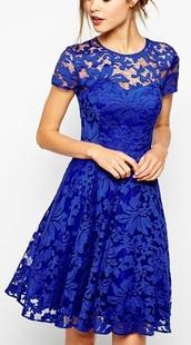 dress,lace royal blue,flower laces,blue dress,lace,party,lace dress,electric blue,frilly,electric blue dress,midi dress,fit and flare dress,romantic dress,girly dress