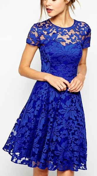 dress lace royal blue flower laces blue dress lace party lace dress electric blue frilly electric blue dress midi dress fit and flare dress romantic dress girly dress
