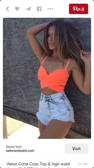 shorts neon top orange top denim shorts high waisted shorts crop tops orange tank top top