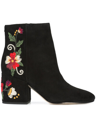 embroidered women ankle boots suede black shoes