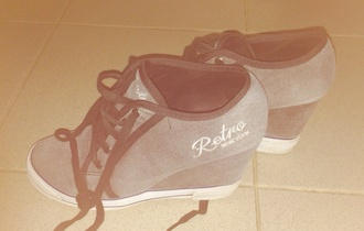 shoes retro shoes wedge heels grey shoes sport shoes