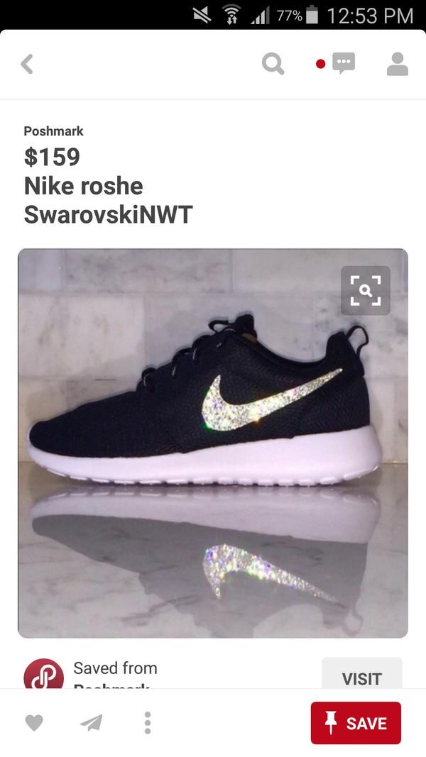ffaa009456b12 Blinged Nike Roshe Run Shoes Black White Metallic Customized With ...