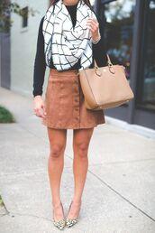 skirt,suede skirt,camel suede skirt,mini skirt,bag,camel bag,handbag,top,black top,printed scarf,checkered,scarf