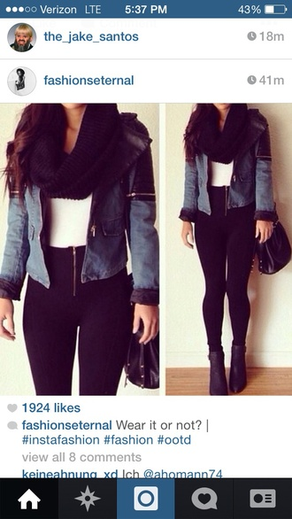 jeans black high waisted pants jacket scarf infinity scarf black