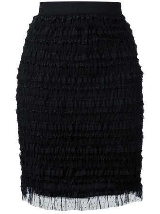 skirt pencil skirt ruffle women spandex embellished black