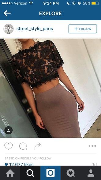 top black brown skirt shirt crop tops