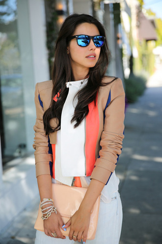jacket leather jacket leather nude multi colored beige beige jacket tumblr tumblr girl tumblr clothes tumblr jacket streetstyle sunglasses