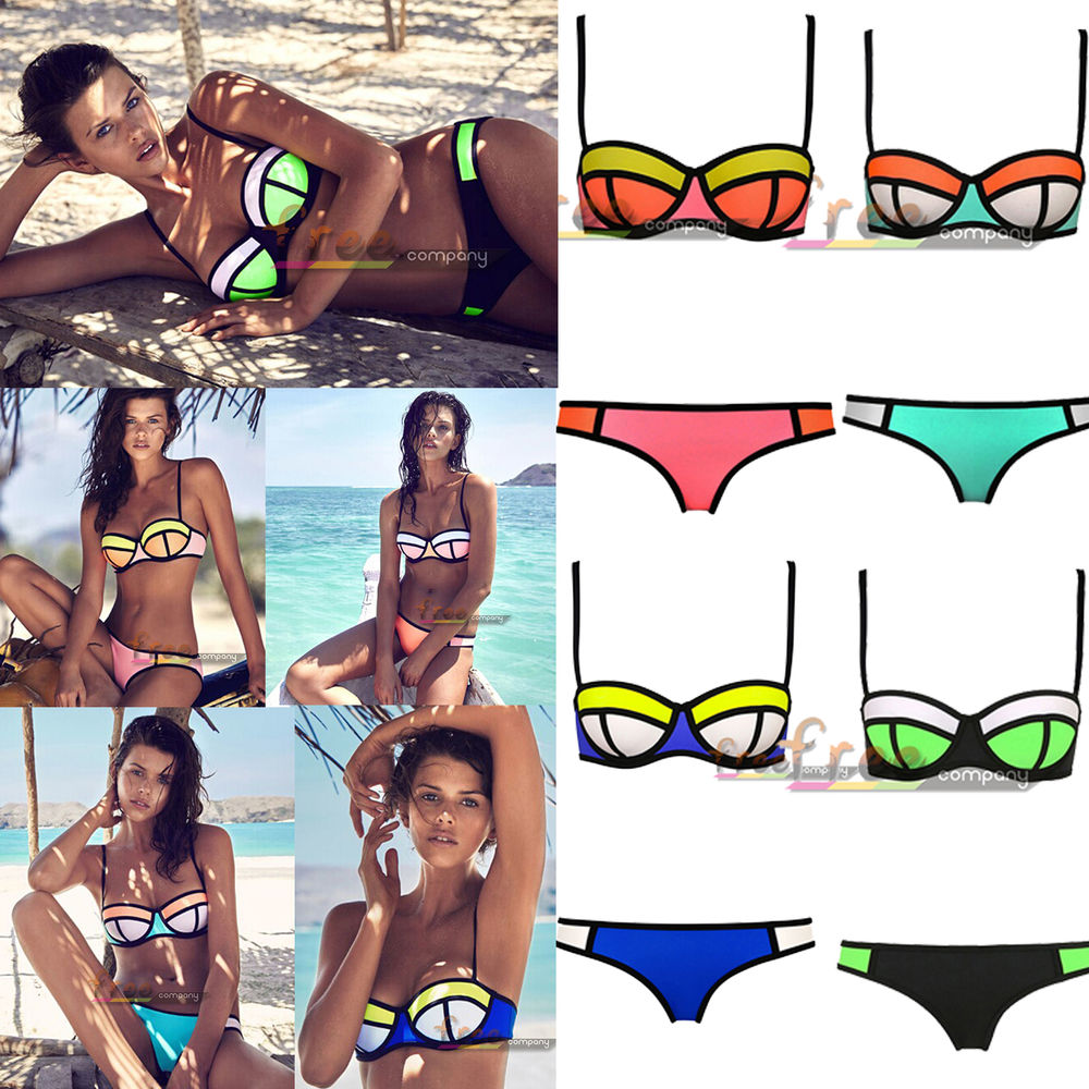7d823543d06 Womens Rims Padded Polyester Triangle Bikini Swimwear Swimsuit ...