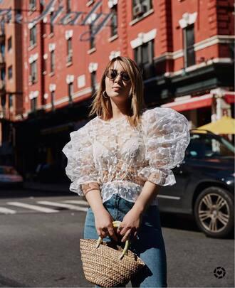 blouse tumblr puffed sleeves white blouse bag woven bag sunglasses