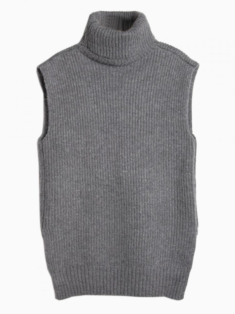 Gray rolled neck knit vest with asymmetric hem