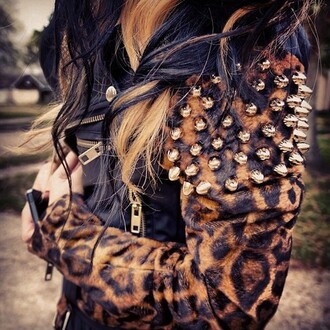 jacket leopard print jacket with spikes spikes spiked leather jacket studs