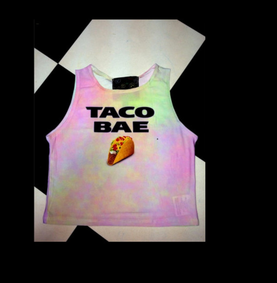 rainbow rainbow shirt tank top colorful taco bae taco bell bae pastel pastel goth pastel pink soft grunge pale grunge sea punk