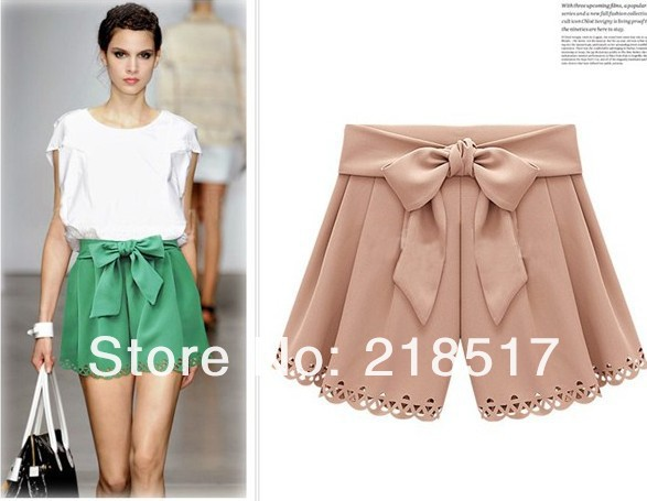 Free Shipping  2013 New Spring and Summer Fashion Womens Loose European and American style bow chiffon shorts lace shorts S01-in Shorts from Apparel & Accessories on Aliexpress.com