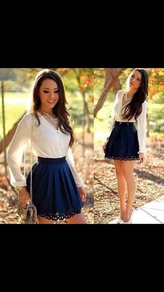 white shirt blue lace hem skirt cute skirt blue skirt want want want white shirt buttonupblouse