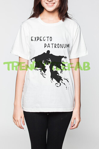 t-shirt top white harry potter expecto patronum summer
