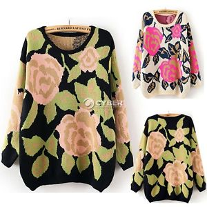 Womens Top Floral Loose Thicken Knitted Pullover Jumper Sweater Round Neck | eBay