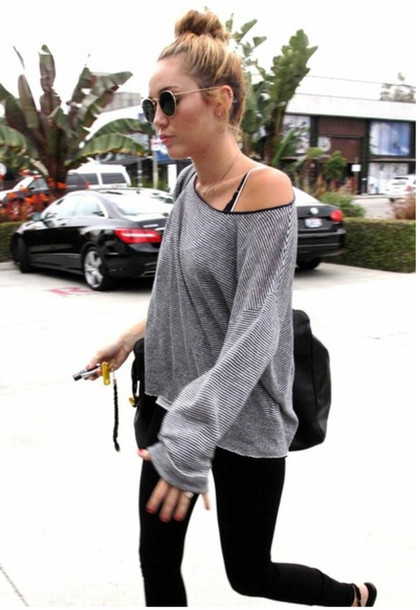 sunglasses grey miley cyrus glasses sweater t-shirt Celeb Gym Clothes miley cyrus gym clothes