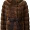 Liska belted coat, women's, size: medium, brown, mink fur