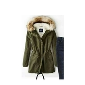 jacket,parka,coat,army green fur hood parka,army green winter coat