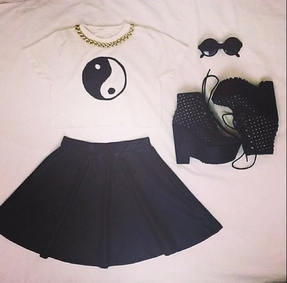 skirt white shirt black shoes top ying yang