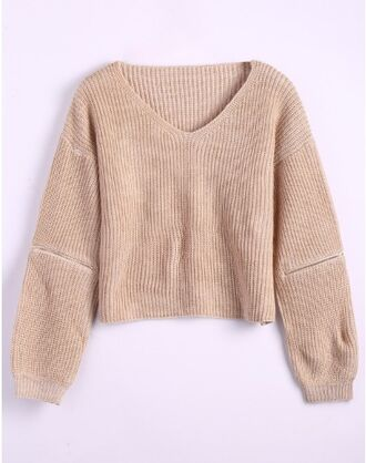 sweater girl girly girly wishlist knit knitwear zip nude knitted sweater v neck fall sweater fall colors