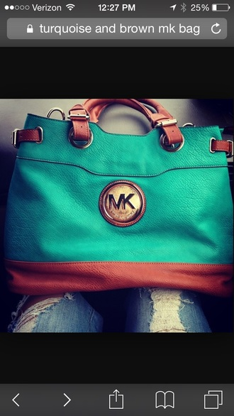 bag turquoise and brown mk handbags michael kors handbag blue green mint ripped jeans